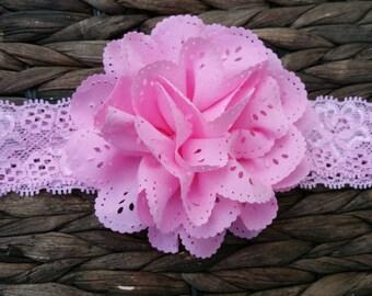 """Pink 4"""" eyelet chiffon flower on 1"""" lace headband-RTS"""