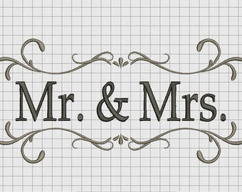 Mr. and Mrs. Simple Wedding Announcement Embroidery Design in 4x4 5x7 and 6x10 Sizes