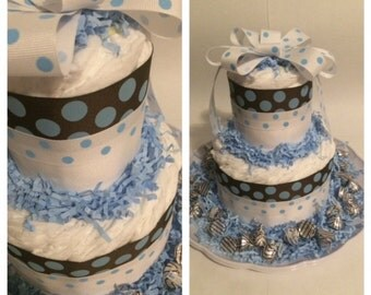Brown w/Blue Polka Dots Small Diaper Cake Centerpiece, Boy