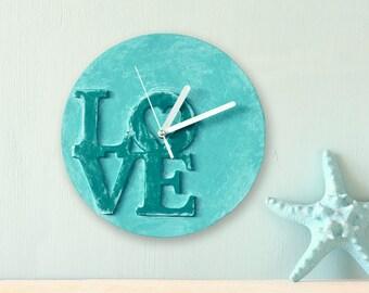 love clock modern wall clock mint wall clock unique office decor mint