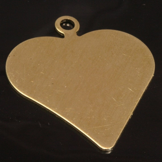 9 pcs raw brass 35 x 30 mm (thickness 0.8 mm 20 gauge) heart shape tag stamp tag charms with 1 hole ,findings 1036R-38