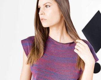 LISA knit shirt marbled blue / terracotta