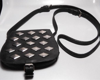 Vintage Jil Sander X Sergio Palomba Black Leather and Silver Handbag Cross Body