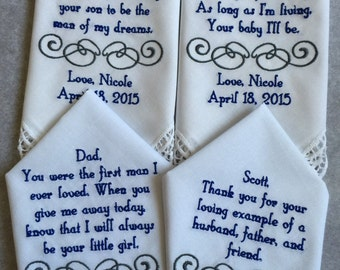 Set of four 4 Mother of the groom/bride and father of the groom/bride  custom made personalized handkerchief hankie gift from bride