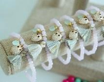 12 pcs - Wholesale tassel bracelet - charm bracelet - beaded bracelet - pink bracelet - wholesale - habdling time 1-2 business days