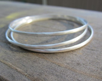 Sterling Silver Bangle Bracelets|3 Classic Bangles|Tarnish Resistant Argentium Silver|Eco Friendly|Boho Chic
