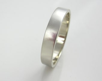 White Gold Wedding Band| 14K Recycled White Gold| Wide Band| Brushed Finish| Eco Friendly| Ethical