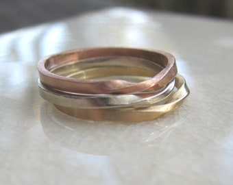 Tri Color Gold Mobius Stacking Rings| Rose Gold| Yellow Gold| White Gold| 14K Recycled Gold| Eco Friendly