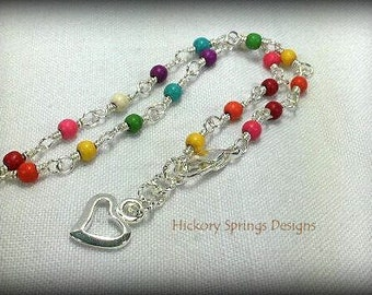 Multi-Color Howlite Silver Wire Wrapped Anklet ~ Chakra Anklet ~ Rainbow Anklet ~ LGBT Pride