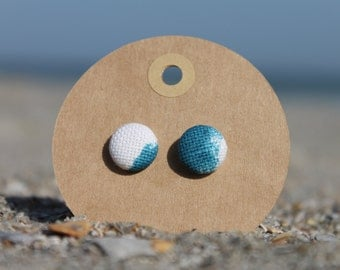 """1/2"""" Blue and White Button Earrings"""