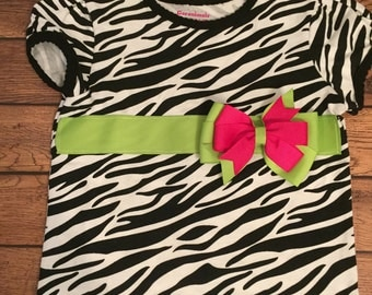 Zebra shirt with hot pink and lime ribbon sash - Ready to Ship