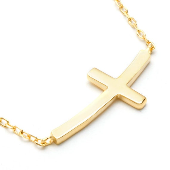 cross necklace 14k solid gold simple cross necklace 14k