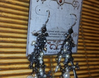 Treska Chain Link Dangle Earrings with Pearl & Cross Accents