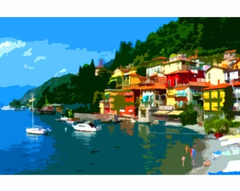 "Needlepoint canvas "" Varenna.Italy"" (SC052)"