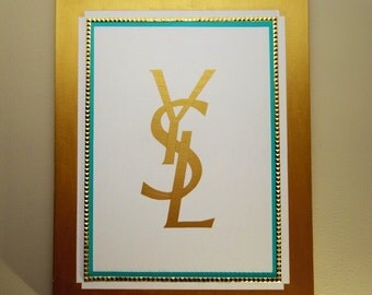 YSL Painting (22x28) YSL Inspired Pop Art, White and Gold, Turquoise, Metallic, Designer, Fashion, Home Decor