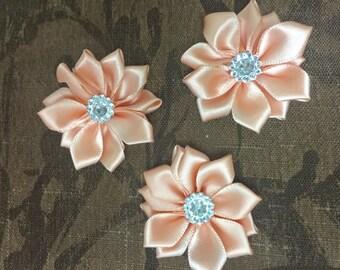 "1.5"" Peach Mini Satin Flowers  with Rhinestone Center - 3 Pieces-Baby Headband-Brooch-Girl-Applique-Clippie"