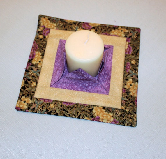 Summer quilted candle mat medium purple gold mini quilt