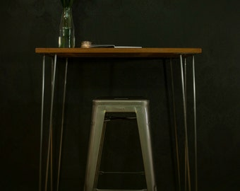 Vintage Workbench - Standing Desk - Jewellery Bench - Mid Century Table - Reclaimed Rustic - School Retro - Steel Hairpin Legs - London UK