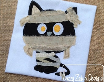 Mummy Cat with Raggedy Edge Bandages Appliqué embroidery Design - cat Appliqué Design - mummy Appliqué Design - halloween Appliqué Design