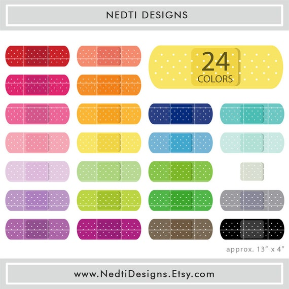 24 Band Aid Clipart Set 1 Colorful Bandage Color Clip Art