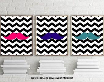Teen Girl Room Decor, Mustache Art, Black Chevron Decor, Teen Girl Room Wall Art, Mustache Bedroom, Teen Girl Gifts, Printable Art Print