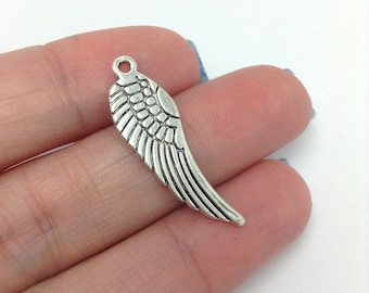 10 Angel Wing Charms, Silver Wing Charms, Religious Charms, Christmas Charms (1-1026)