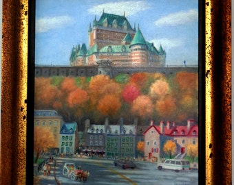 Painting of Marcel Heon chateau Frontenac Quebec oil on canvas 20 X 24 signed and dated 2007