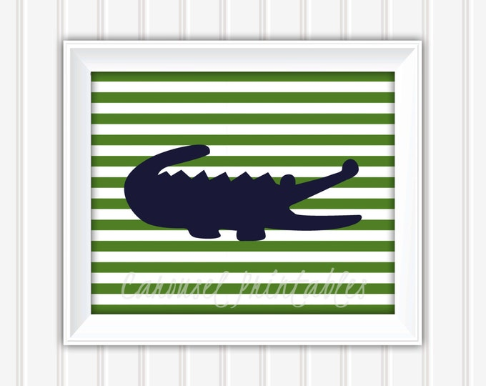 Alligator Wall Art, Green And Navy Stripes, Preppy Wall Art, Instant Download, Kids Wall Art, Nursery Wall Art, DIY Wall Art