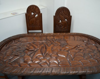 Dining Table Africa African Art Chairs Dinner Lunch Breakfast Wood