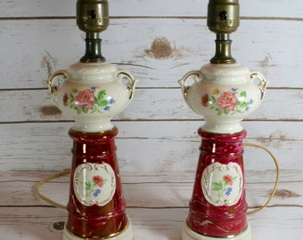 Vintage Lamps Ceramic Floral Table Lamps Nightstand Lamps Red Lamps Boudoir Lamps