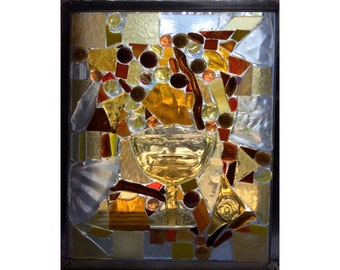 """Amber Tones. Custom Made. Glass-on-Glass mosaic. 10"""" by 12"""" with zinc frame. Recycled glass handmade by Elizabeth. Gold brown red yellow"""