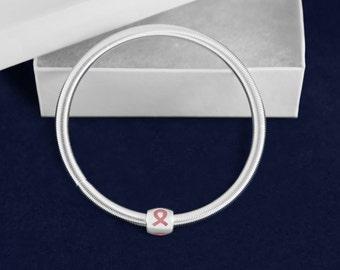 10 Pink Ribbon Breast Cancer Awareness Spring Bracelets (10 Bracelets) (B-101-1)