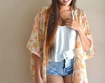 SALE Floral Kimono, Cream Floral Kimono Cover Up, Swim Cover Up, Bikini Cover Up, Boho Kimono, Women's Kimono, Spring Trends, Spring Finds