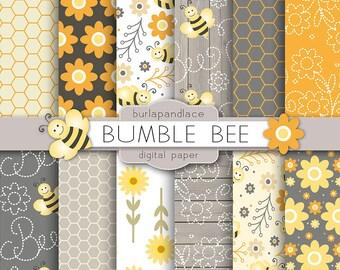 Bumble Bee digital paper, yellow flower digital background, honeycomb patterns, digital paper scrapbooking, cards, orange, grey