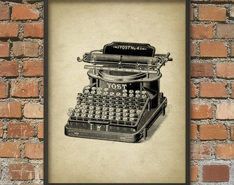 Vintage Typewriter Wall Art Poster