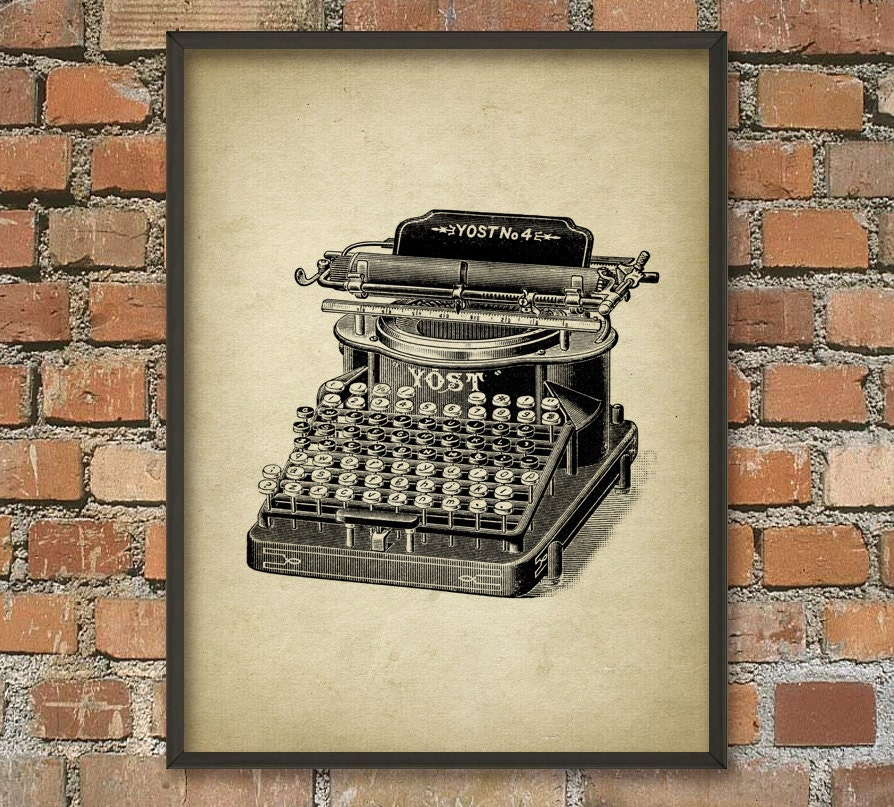 Vintage Typewriter Wall Art Poster Typewriter Print Typing