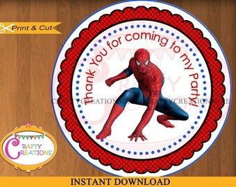 INSTANT DOWNLOAD - Spiderman Labels - Printable Thank You Favor Tag Sticker -Spiderman Favor Tag - Spiderman Birthday Party Decorations
