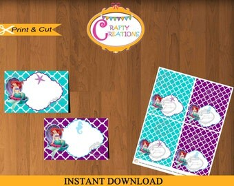 Mermaid Food Label Cards - Little Mermaid Food Tent Cards - Mermaid Party Printables - Editable Text - ARIEL - INSTANT DOWNLOAD - CraftyUAE