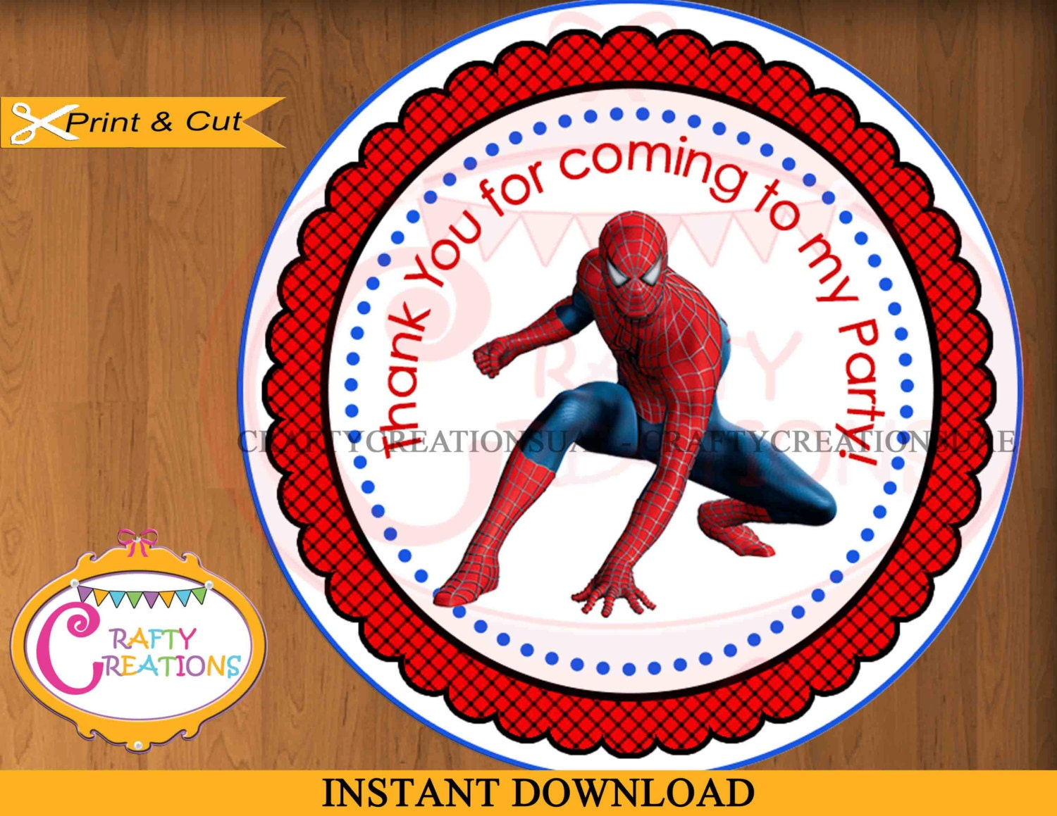 INSTANT DOWNLOAD Spiderman Labels Printable Thank You