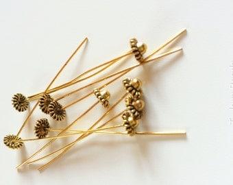 10 x Gold Tibetan Head Pins