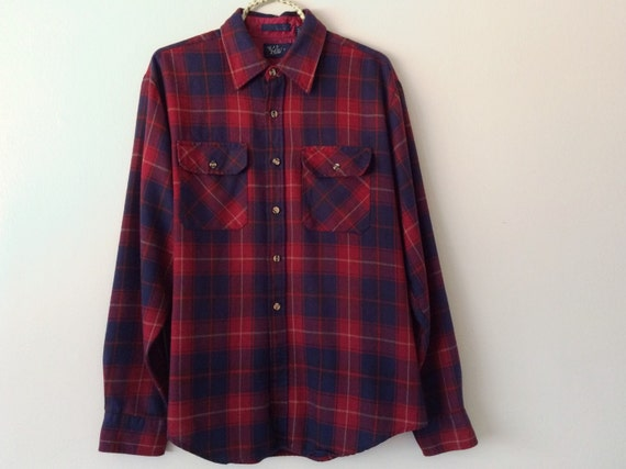 Vintage 90s Flannel Shirt Blue And Red Plaid By