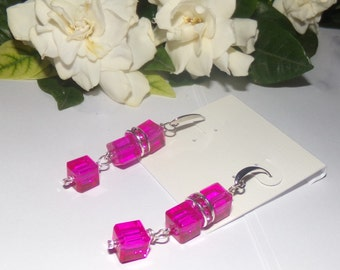 Rose Pink Square Swarovski Crystal Dangle Earrings 2 1/2 Inches Long