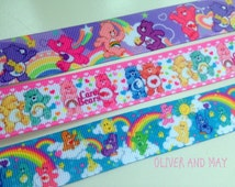 Care Bear 3 metre mix Quality Grosgrain Ribbon Hairbows Birthday party Hair Ribbons Cake Decoration
