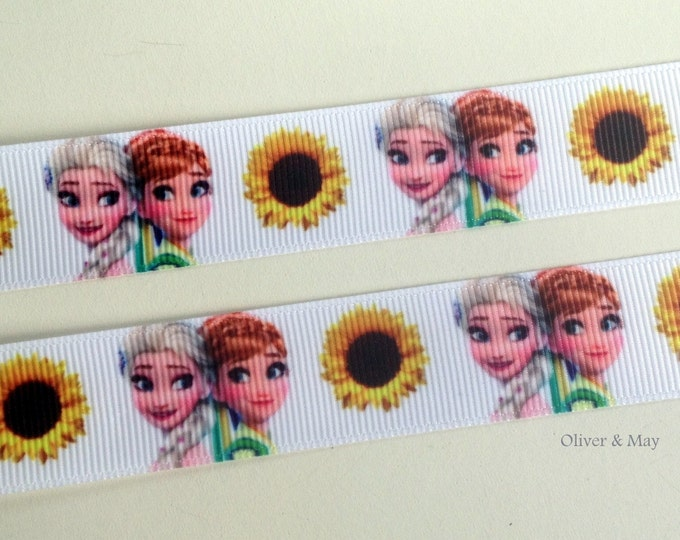 """Frozen Fever  7/8"""" 22mm Grosgrain Ribbon Hairbows Birthday Cakes Gift Wrapping by the yard or my the metre"""