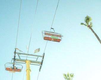 Carnival Fair Photos, Sky Tram, Whimsical, Girls Room decor, summer fun photos, carnival swings, baby blue