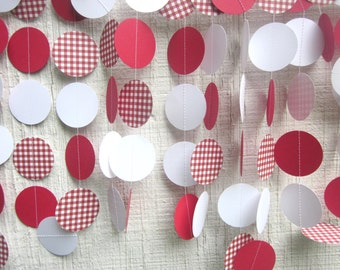Red Gingham Paper Circles Garland,  Wedding Garland, Baby Shower, Photo Prop, Bridal Shower, Cowboy,Cowgirl, Western, Birthday