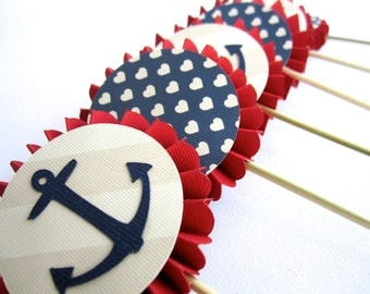 Nautical Cupcake Toppers, Anchor Cupcake Toppers, Nautical Theme Baby Shower, 4th of July Party, Red White and Blue, Navy Cupcake Toppers