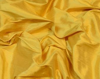 "Dark Daffodil Yellow Dupioni Silk, 100% Silk Fabric, 54"" Wide, By The Yard (S-271)"