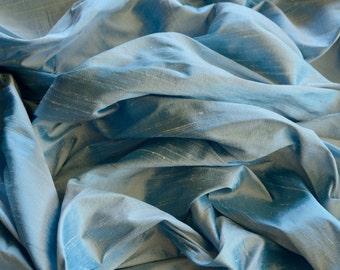 "Iridescent Maya Blue Dupioni Silk, 100% Silk Fabric, 44"" Wide, By The Yard (S-152)"