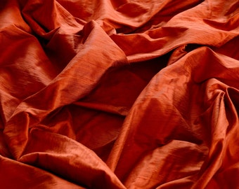 "Iridescent Burnt Orange Dupioni Silk, 100% Silk Fabric, 54"" Wide, By The Yard (S-118)"